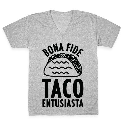Bona Fide Taco Enthusiasta V-Neck Tee Shirt
