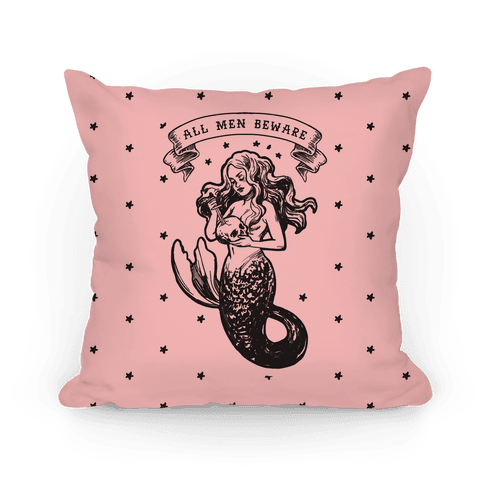 All Men Beware Vintage Mermaid Pillow