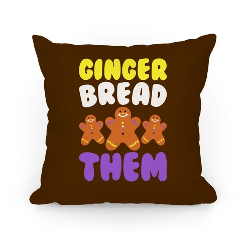 Ginger Bread Them White Print Pillow