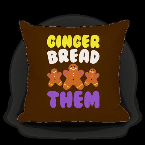 Ginger Bread Them White Print Pillow