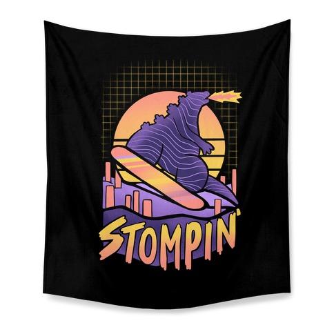 Stompin' Snowboarding Godzilla Tapestry
