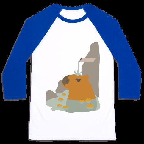 Capybara Hot Spring Baseball Tee