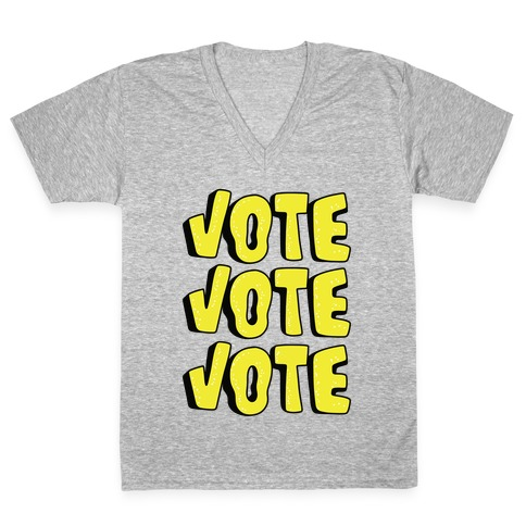 Vote Vote Vote! (Yellow) V-Neck Tee Shirt