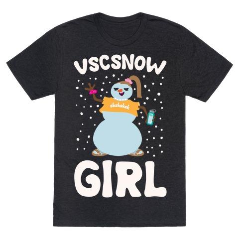 Vscsnow Girl Parody White Print T-Shirt