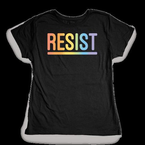Rainbow Resist White Print Womens T-Shirt