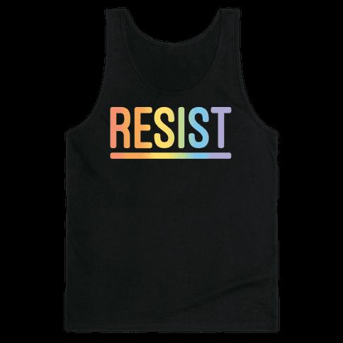 Rainbow Resist White Print Tank Top