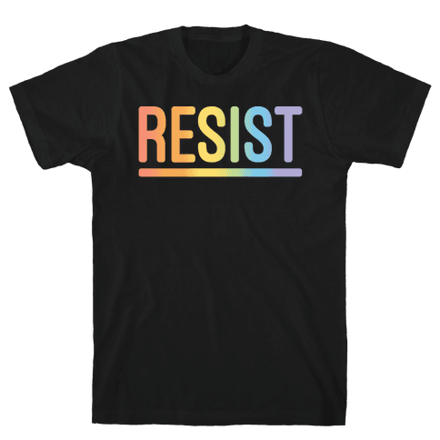 Rainbow Resist White Print Mens T-Shirt