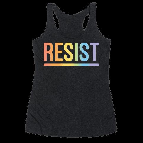 Rainbow Resist White Print Racerback Tank Top