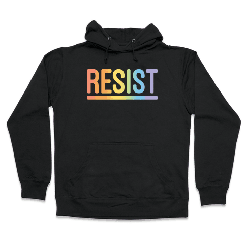 Rainbow Resist White Print Hooded Sweatshirt