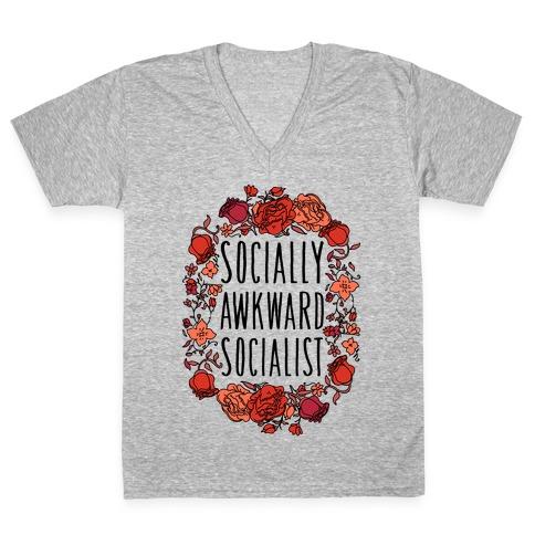 Socially Awkward Socialist V-Neck Tee Shirt