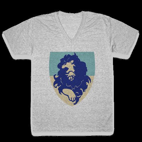 Blue Lion Crest - Fire Emblem V-Neck Tee Shirt