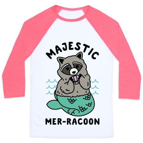 Majestic Mer-Raccoon Baseball Tee