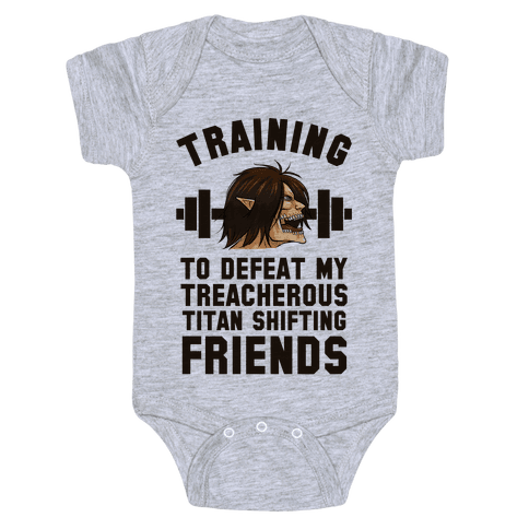 Training to Defeat My Treacherous Titan shifting Friends Baby Onesy