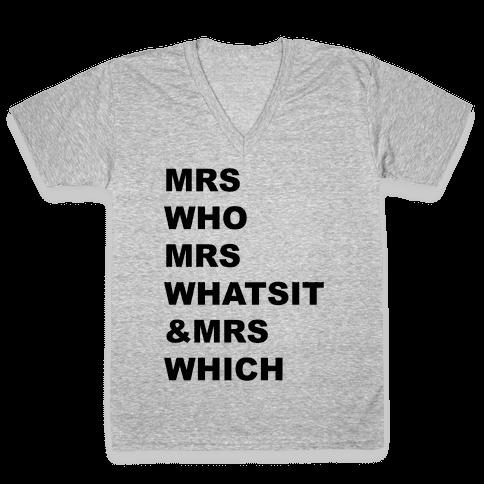 Mrs Who Mrs Whatsit & Mrs Which V-Neck Tee Shirt