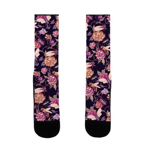 Florals & Hidden Insects Sock