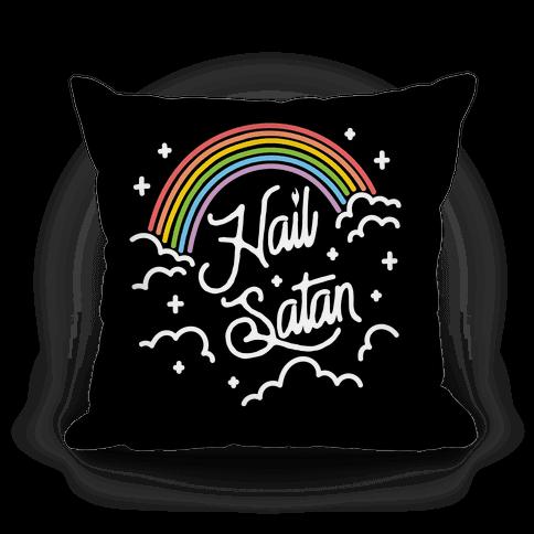 Hail Satan Rainbow Pillow