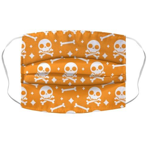 Cute Skull N' Bones Pattern (Orange) Accordion Face Mask