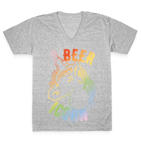 Beer-icorn White Print V-Neck Tee Shirt