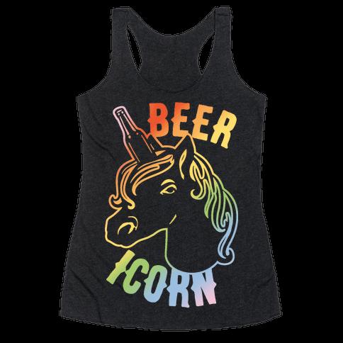 Beer-icorn White Print Racerback Tank Top