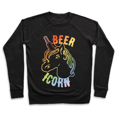 Beer-icorn White Print Pullover
