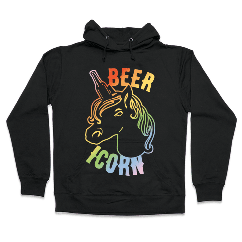 Beer-icorn White Print Hooded Sweatshirt