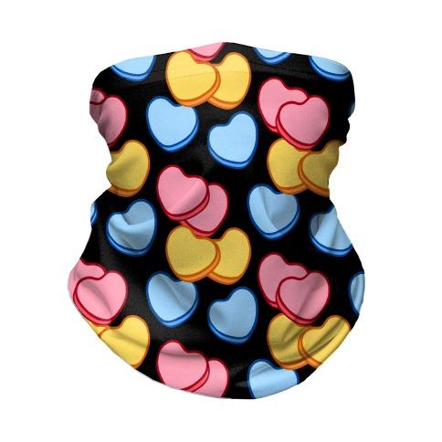 Candy Hearts Mask Black Neck Gaiter