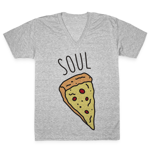 Soul Mates Pizza 1  V-Neck Tee Shirt