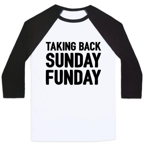 Taking Back Sunday Funday Parody Baseball Tee