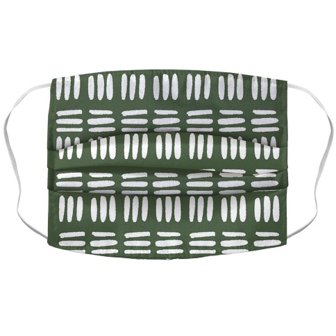 Dashed Lines Chive Boho Pattern Accordion Face Mask