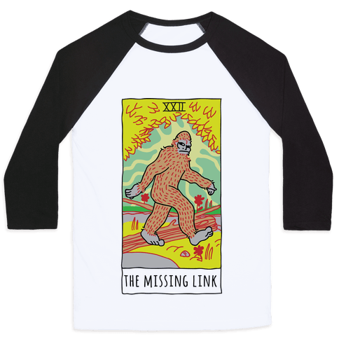 The Missing Link Bigfoot Tarot Baseball Tee