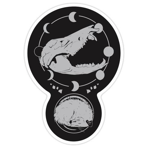 Occult Trash Possum  Die Cut Sticker