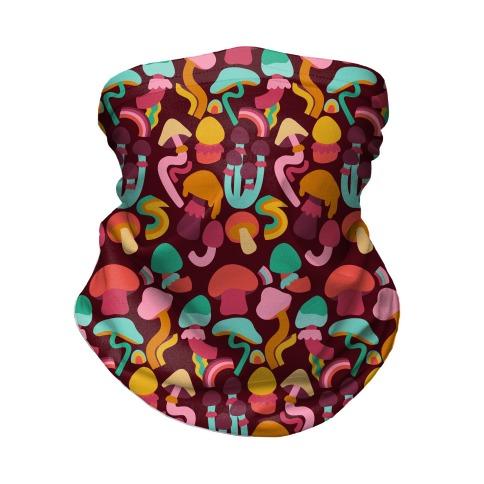 Retro Groovy Mushroom Pattern Neck Gaiter