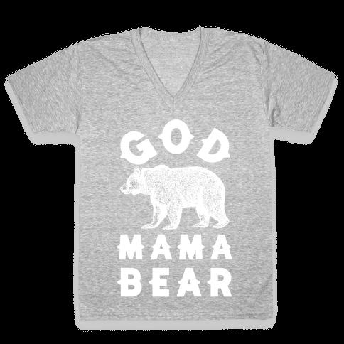 God Mama Bear V-Neck Tee Shirt