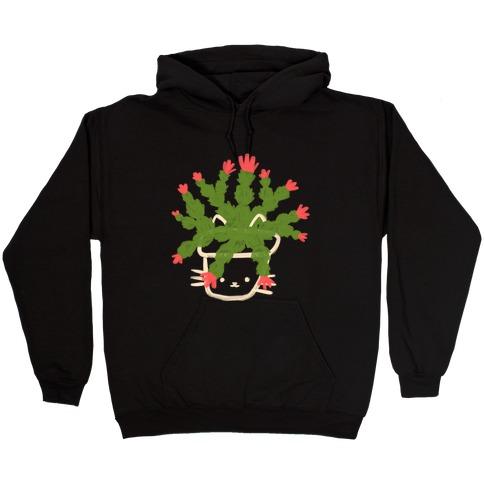 Christmas Cactus Cat Hooded Sweatshirt