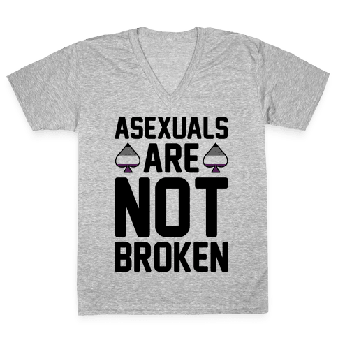 Asexuals Are Not Broken V-Neck Tee Shirt