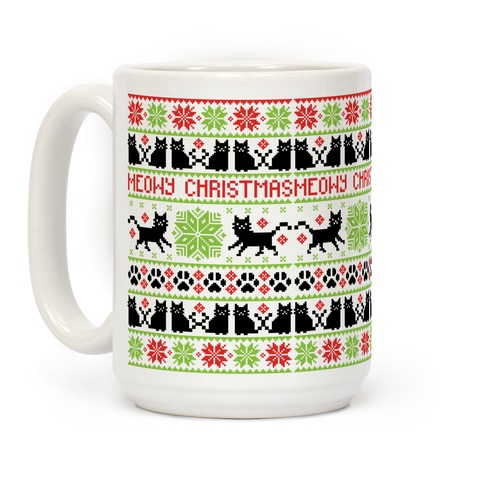 Meowy Christmas Cat Sweater Pattern Coffee Mug