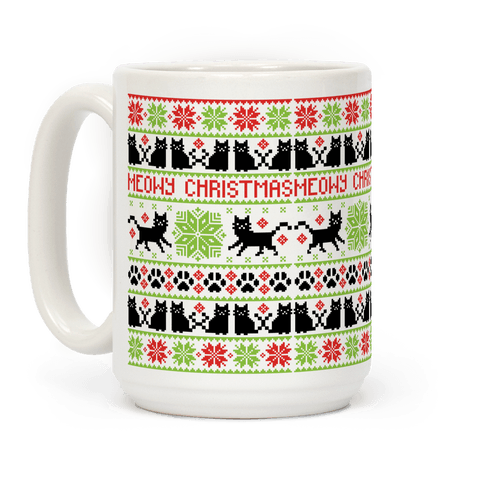 Meowy Christmas Cat Sweater Pattern Coffee Mug