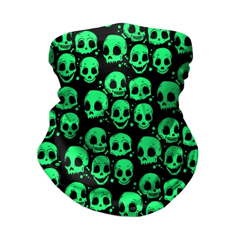 Neon Green Skulls Pattern Neck Gaiter