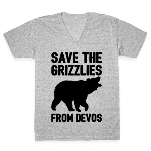 Save The Grizzlies From DeVos V-Neck Tee Shirt