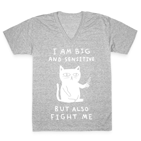 I Am Big And Sensitive But Also Fight Me V-Neck Tee Shirt