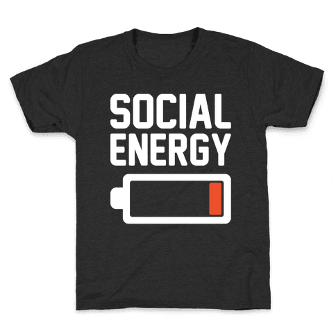 Social Energy Low White Print Kids T-Shirt