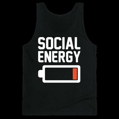 Social Energy Low White Print Tank Top