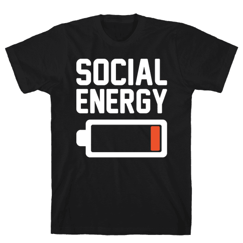 Social Energy Low White Print Mens T-Shirt
