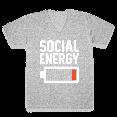Social Energy Low White Print V-Neck Tee Shirt