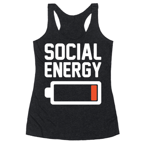 Social Energy Low White Print Racerback Tank Top