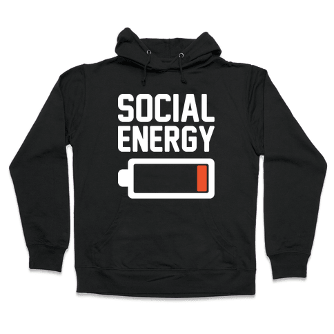 Social Energy Low White Print Hooded Sweatshirt