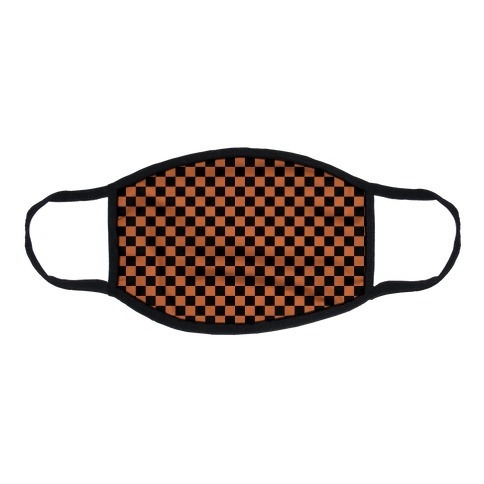 Checkered Black and Rust Orange Flat Face Mask