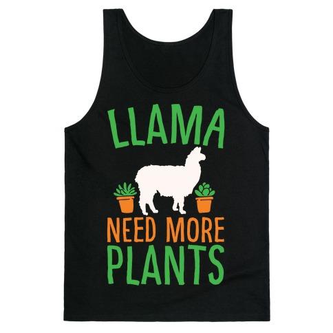Llama Need More Plants White Print Tank Top