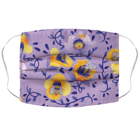 Sleepy Bumble Bee Butts Floral Face Mask Cover