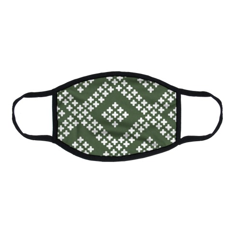 Little Cross Pattern Chive Green Flat Face Mask